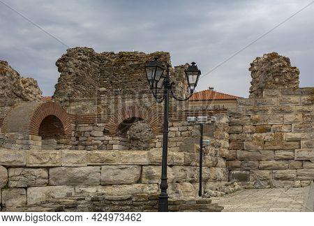 Preserved For Centuries Fortress Wall Built In The Period V-vi Century Nesebar Resort, Bulgaria