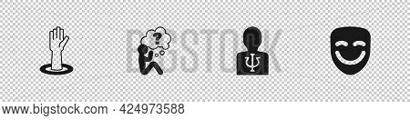 Set Helping Hand, Head With Question Mark, Psychology, Psi And Comedy Theatrical Mask Icon. Vector