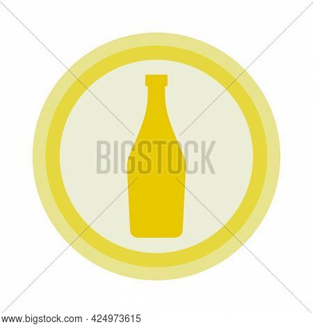 Bottle Of Martini. Background Is Circle. Isolated Color Object Design Beverage. Graphic Illustration
