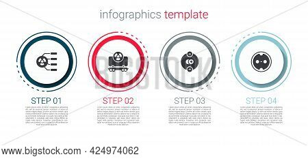 Set Radioactive, Cargo Train, Atom And Electrical Outlet. Business Infographic Template. Vector