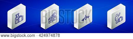 Set Isometric Line Suitcase, Airline Ticket, Plane And Tourist With Suitcase Icon. Vector