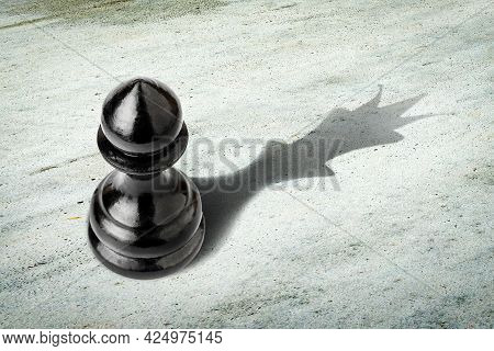 Pawn With The Shadow Of The Queen. Motivation Concept. Strength And Aspirations. Confidence In Your