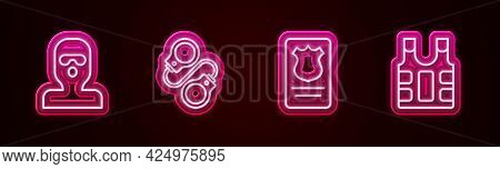 Set Line Thief Mask, Handcuffs, Police Badge With Id Case And Bulletproof Vest. Glowing Neon Icon. V