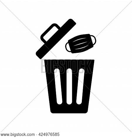 Used Medical Face Mask Icon. Throw Face Mask In The Waste Trash Bin. Garbage Bin And Dirty Mask Icon