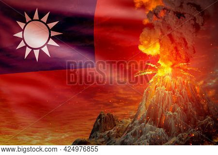 Volcano Blast Eruption At Night With Explosion On Taiwan Province Of China Flag Background, Suffer F