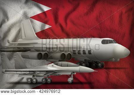 Air Forces On The Bahrain Flag Background. Bahrain Air Forces Concept. 3d Illustration