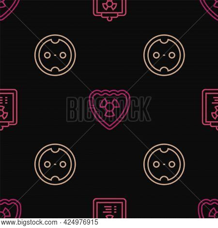 Set Line Radiation Warning Document, Electrical Outlet And Radioactive Shield On Seamless Pattern. V