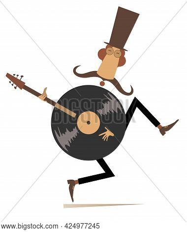 Funny Mustache Man In The Top, Guitar And Vinyl Record Concept Illustration.  Cartoon Long Mustache