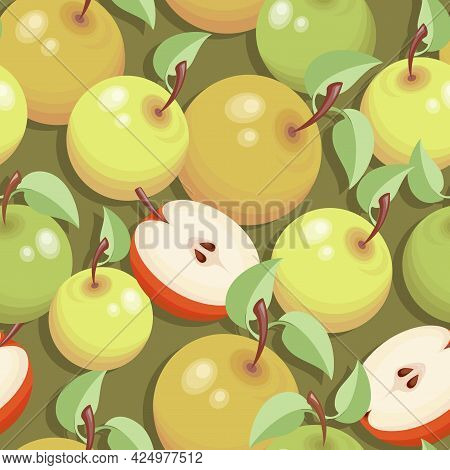 Ripe Apples. Sweet Vector Fruits. Time For Apples. Apple Pattern, Background. Design For Textiles.