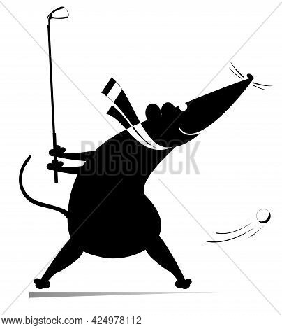 Cartoon Rat Or Mouse Plays Golf Illustration.  Funny Rat Or Mouse Tries To Do A Good Kick Black On W
