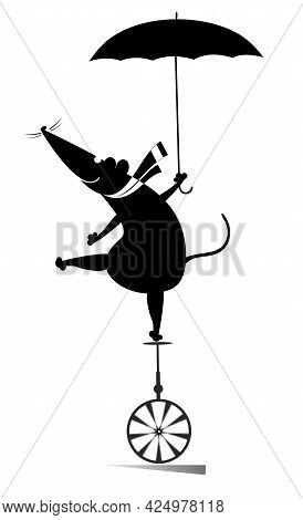 Equilibrist Rat Or Mouse Balances On The Unicycle With An Umbrella Illustration.  Cartoon Rat Or Mou