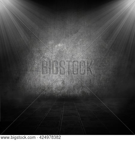 Grunge style room interior with spotlights shining down