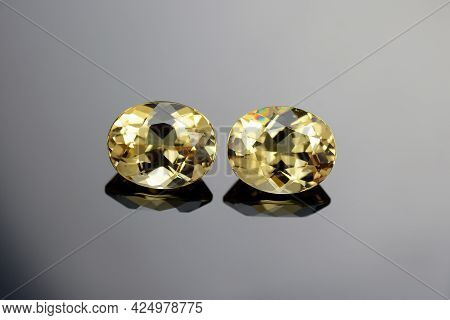 Natural Heliodor Beryl Oval Faceted Loose Golden Yellow Color Clean And Transparent Gemstone Pair Se