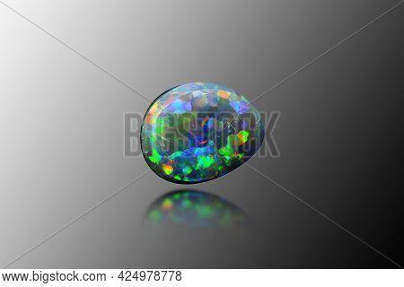 Natural Australian Precious Black Multi Color Play Opal Freeform Cabochon Polished Gemstone Setting