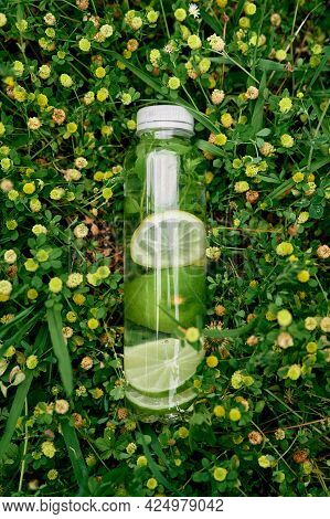 Bottle Of Water With Lemon And Lime Among Yellow Wildflowers