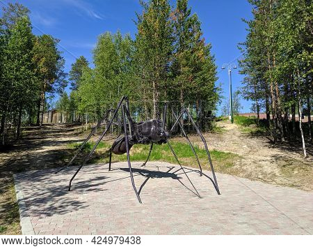 Noyabrsk, Russia - June 5, 2021: Sculpture Of A Mosquito In The City Park Of The City Of Noyabrsk. M