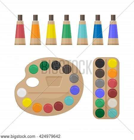 A Bright Color Set Of Multi-colored Paints For Creativity And Drawing. School Paint Kit. The Artist