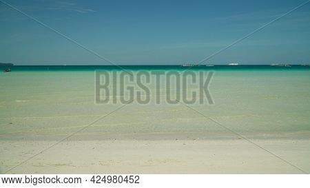 Tropical Beach And Turquoise Water On The Island Of Boracay, Philippines. Summer And Travel Vacation
