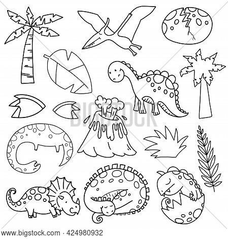 Kids Coloring Dinosaur Drawing, Scene Making Elements.