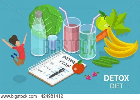 3d Isometric Flat Vector Conceptual Illustration Of Detox Healthy Diet, Cleansing The Body Of Toxins
