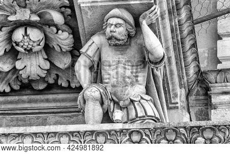 Sculpture On The Facade Of The Church Of The Holy Cross In Lecce. Masterpiece Of Baroque Art In Sale