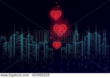 Internet Dating App Concept. 3d Low Poly Cityscape Skyscraper Relationship Symbol Heart. Social Medi
