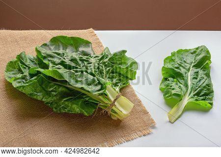Balkan Cuisine. Blitva ( Chard Leaves ) - Popular Leafy Vegetables On White Table