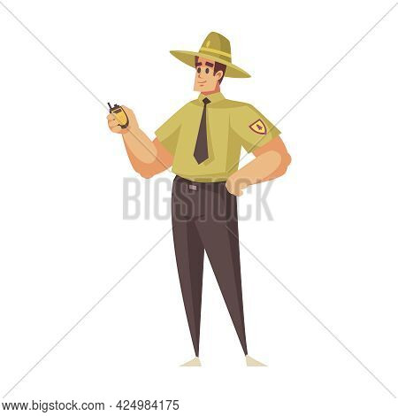 Happy Character Of Forest Ranger With Portable Transmitter Cartoon Icon Vector Illustration