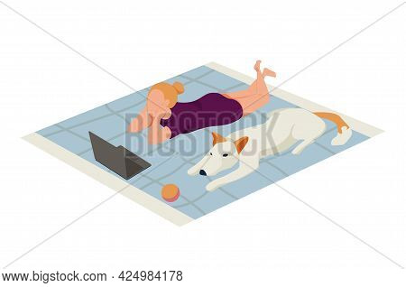 Flat Icon With Girl And Her Big Dog Relaxing On Rug Vector Illustration