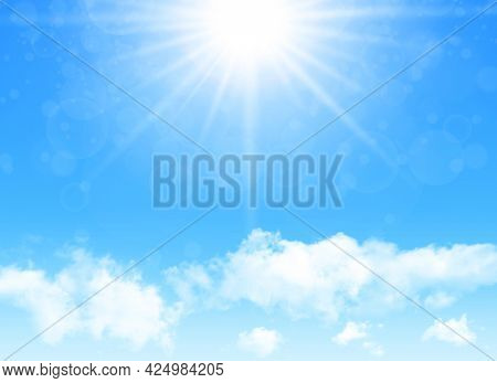 Sunny day background, blue sky with white cumulus clouds and glaring sun, natural summer or spring background with perfect hot day weather illustration.
