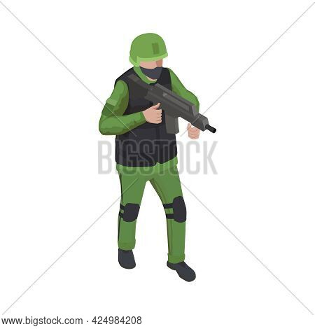 Isometric Character Of Armed Soldier Wearing Armor Vest 3d Vector Illustration