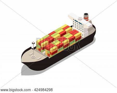 Isometric Container Carrier With Freight Icon On White Background Vector Illustration