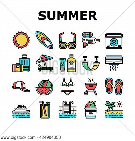 Summer Vacation Travel Collection Icons Set Vector. Resting On Summer Tropical Beach And Drink Exoti
