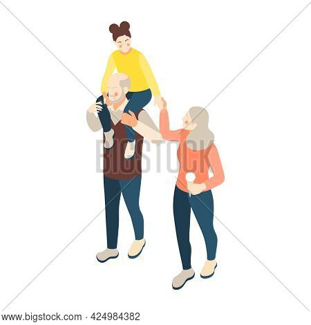 Family Icon With Grandpa Walking With Grandma And Carrying Girl On His Shoulders 3d Isometric Vector