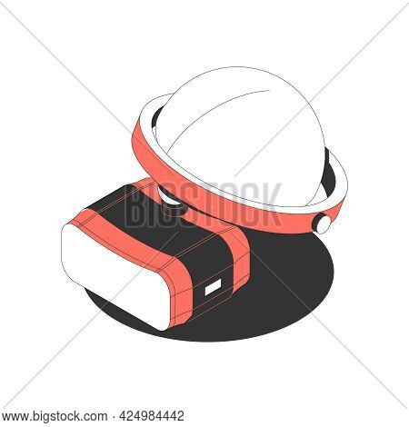 Isometric Icon With Red Black And White Vr Goggles And Helmet 3d Vector Illustration