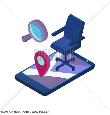 Recruitment Isometric Icon With Online Job Vacancies Searching For Applicants Smartphone Chair Magni