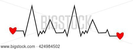 Heart Beat Cardiogram Black Line. Two Red Hearts At Beginning And End Of Cardiogram Line. Electrophy