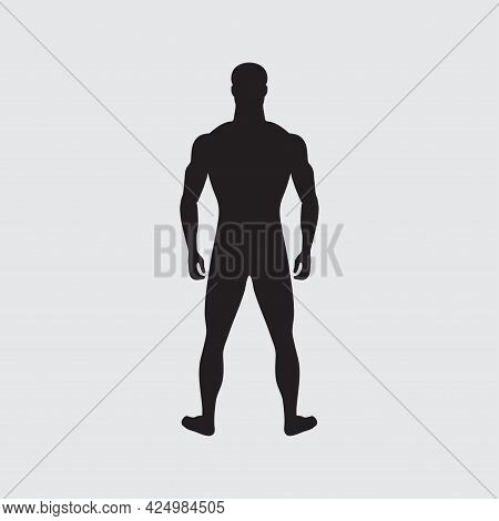 Standing Man. Black Male Silhouette Isolated. Male Gender. Human Body Figure. Adult Man Of Normal We