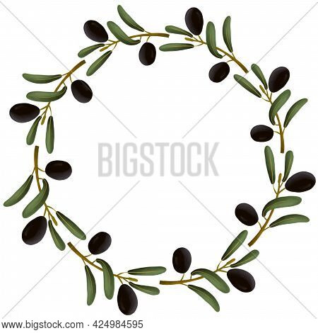 Round Frame, Postcard Of An Olive Branch On A White Background. Template For Scrapbooking. Cute Gree