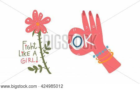Girl Power Trendy Stickers With Flower And Ok Gesture Vector Set