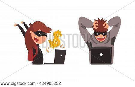 Hacker Man And Woman In Hoody And Mask Stealing Money Using Laptop Vector Set