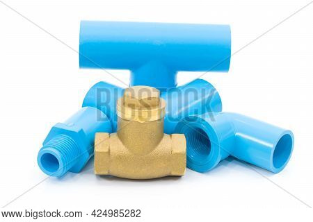 Water Pipes Joints Pipes Pvc On A White Background.