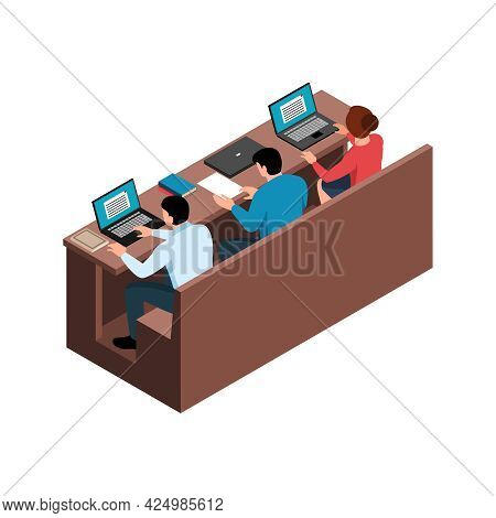 Isometric Back View Of Lecture Hall Seats With Working Students 3d Vector Illustration