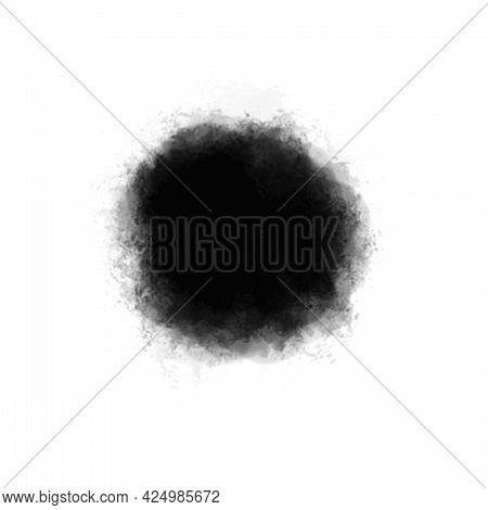 Abstract Watercolor Black Spot, Blurred Circle, Paint Stroke. Design Element And Decoration, Backgro