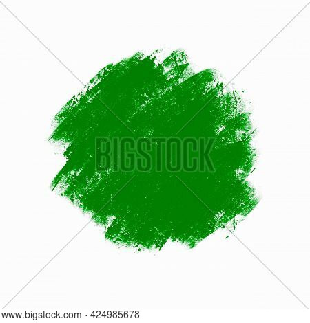 Abstract Blurred Green Spot, Smear Of Oil Paint, Design Element, Background.