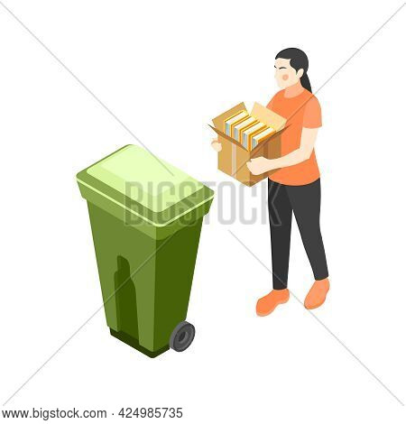 Isometric Renovation Icon With Woman Throwing Away Old Books 3d Vector Illustration
