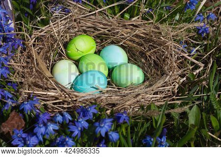 Green And Blue Eggs In A Nest Of Straw And Blue Flowers Among Nature For The Easter Holiday.