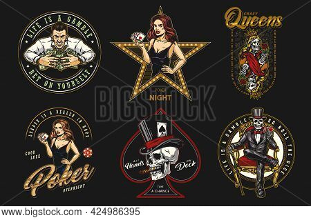 Colorful Vintage Casino Labels With Letterings Attractive Poker Ladies Gambler Skull And Skeleton Lu