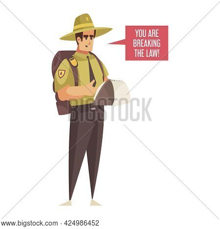 Cartoon Icon With Male Forest Ranger In Uniform On White Background Vector Illustration