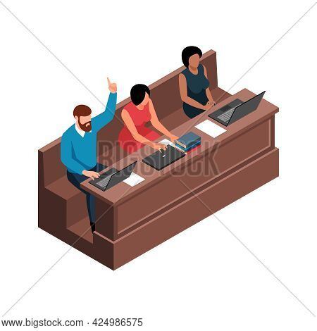 Isometric Characters Of Adult Students At Lecture Hall Desk 3d Vector Illustration